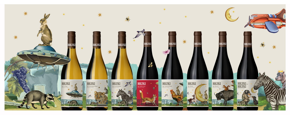 Új, színes, fantáziadús boroscímke-család az egri Bolyki Pincészet borain, Ipacs Géza tervezésében.