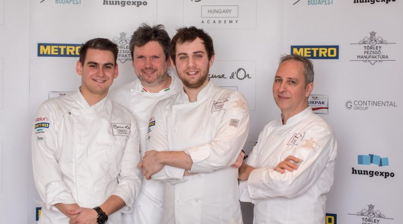 Pohner Ádám, Csillag Richárd, Hamvas Zoltán és Segal Viktor a magyar Bocuse d'Or csapat a 2019-es lyoni versenyre készülve. GasztroMagazin 2019.