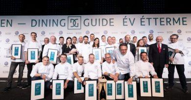 A Dining Guide 2019-es díjazottjai a Várkert Bazár rendezvénytermében. GasztroMagazin 2019.