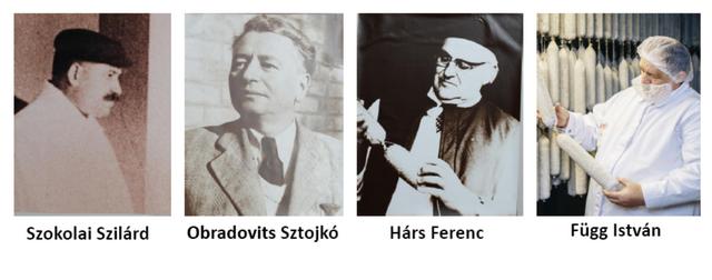 A Pick szalámigyár négy meghatározó szalámimestere, köztük Függ István.