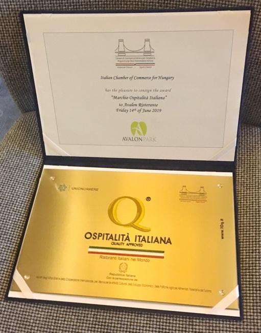 Ospitalitá Italiana. A díjat idén kapta a Ristorante Avalon, az Avalon Park gasztronómiai egysége.