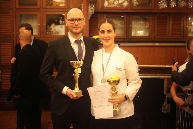 Császár Attila és Ramocsai Barbara, a pincér-, illetve szakácsverseny győztesei
