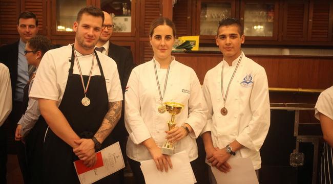 A BGE KVIK rendhagyó szakács- és pincérversenyének dobogós szakácsversenyzői. GasztroMagazin 2019.