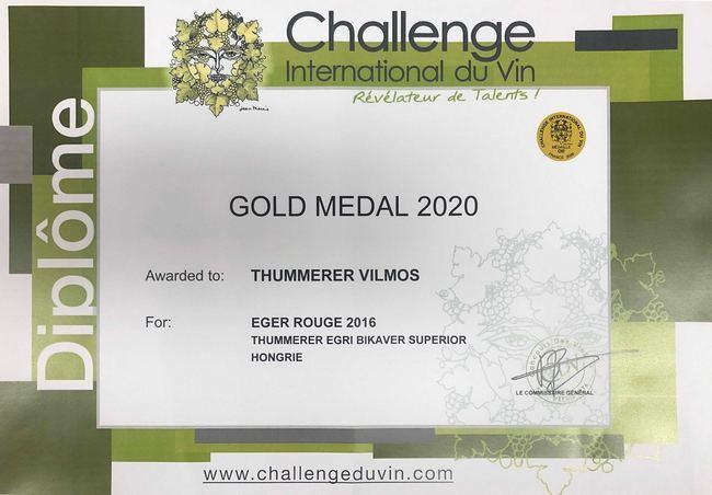 Thummerer Egri Bikavér superior, a Grand Challenge du Vin egyik aranyérmese 2020-ban. GasztroMagazin 2020.