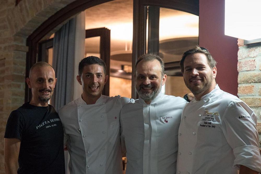 Széll Tamás ezúttal a zsűrielnökségben, Jerome Bocuse, Enrico Crippa és Carlo Cracco társaságában.