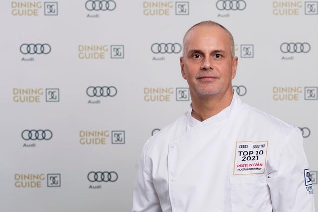 Pesti István, a tatai Platán Gourmet Étterem séfje, az idei Dining Guide legjobb vidéki éttermének konyhafőnöke. GasztroMagazin 2021.