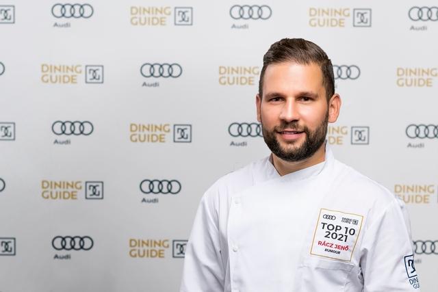 Rácz Jenő, a Rumour Étterem séfje, a Dining Guide Év Étterme Díj helyezettje. GasztroMagazin 2021.