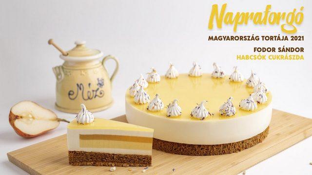 Az idei Év tortája, a Napraforgó, Fodor Sándor készítménye. GasztroMagazin 2021.